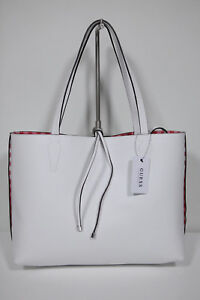 Neu-Guess-Handtasche-Inside-out-Wende-Shopper-Bobbi-Rot-Weiss-kariert-19-130