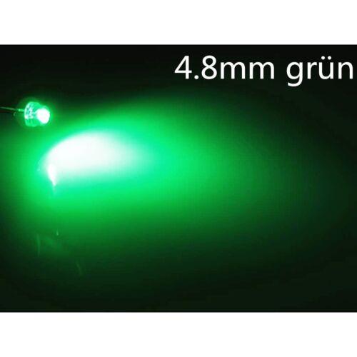 10 LEDs stk.a0305 4,8mm verde alrededor de super brillante 5lm 4.8mm strawhat LEDs