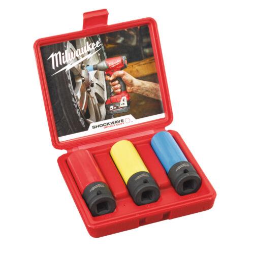 """Milwaukee shockwave schlagnuss set 3-tlg 17 ajout codée par couleur 19 21 mm 1//2/"""""""
