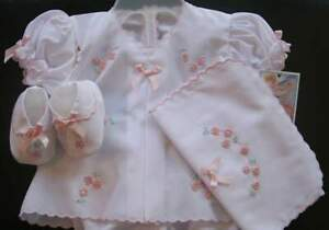 Will-039-beth-Newborn-Baby-Girl-Fancy-Gift-Diaper-Set-Booties-Burp-Cloth-Dolls-NWT
