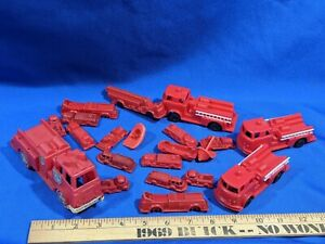 Huge-Lot-VTG-Plastic-Celluloid-Hong-Kong-Fire-Truck-Mini-Toy-50s-60s-Department