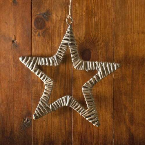 Antique Wash Flat Star Wall Hanging Woven Wicker Christmas Home Decor Decoration