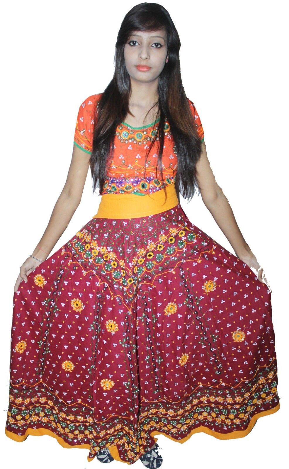 Indian 100%cotton Women Long Skirt Embroidered Beads Work Maroon color Plus Size
