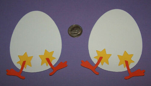 Scrapbook /& Card Making 2 LG Eggs with Chicken Feet Premade PAPER Die Cuts