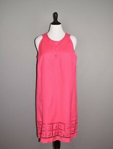 NEW-DIRECTIONS-NEW-89-Pink-Sleeveless-Embroidered-Linen-Shift-Dress-Size-14W