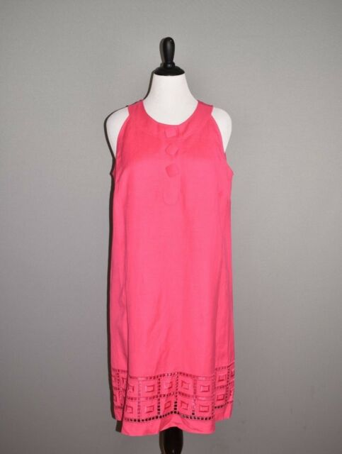 NEW DIRECTIONS NEW $89 Pink Sleeveless Embroidered Linen Shift Dress Size 14W