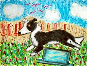 Border-Collie-Dog-Art-Print-Signed-by-Artist-Kimberly-Helgeson-Sams-8x10-Agility