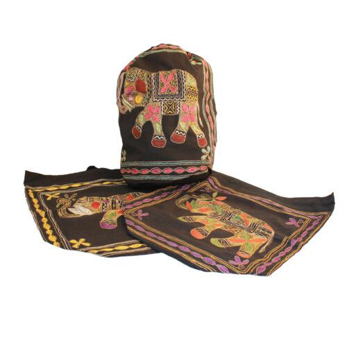 Black Cotton Elephant Duffel Bag