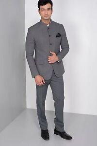 Men Wedding Bespoke Ash Grey Jodhpuri 3pc Suit Mandarin Coat Pant