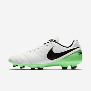 ce92c4dfe36b NEW Nike Tiempo Genio II Leather FG Men s White Electro Green 819213 ...