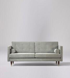 Swoon Porto Stylish MTO Ice Grey Pine Easy Velvet Two Seater Sofa - RRP £1079