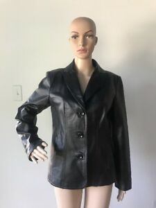 East-5th-Black-Genuine-Leather-Jacket-Coat-Buttoned-Women-039-s-Size-S