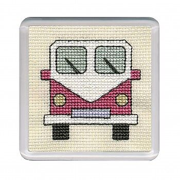 Coaster Kit- Camper Van by Textile Heritage pink Counted Cross Stitch Kit