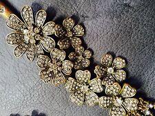 Oscar De La Renta Vintage Oro Tono asimétrico Flor Diamanté Collar