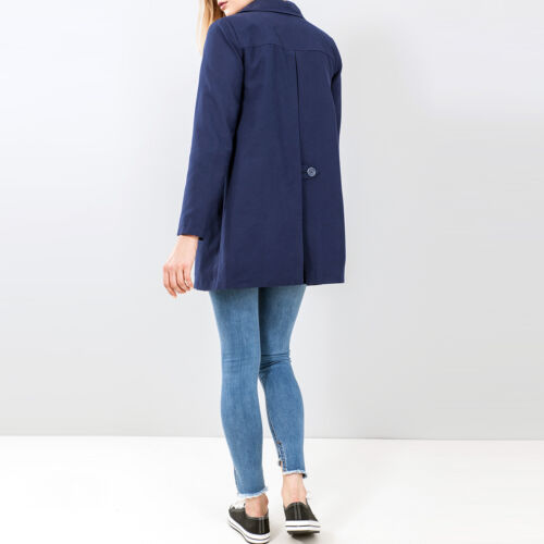 Womens Smart Button Through Mac Jacket in Navy Sizes 8 to 20