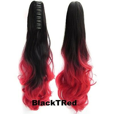 "22"" Claw Pony tail Colorful Ombre Ponytail Hair Extensions Wavy Style CP888"