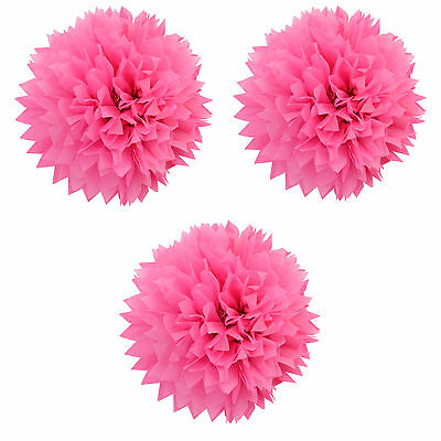 3 Pink Fluffy Pom Pom Decorations | Girls Birthday Party | Pink Decorations