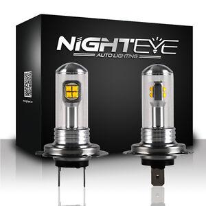 NIGHTEYE-Pair-H7-160W-Car-LED-Light-Fog-Bulbs-6000K-Daytime-White-Lamp-UK-Stock