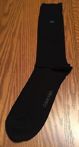 Calvin Klein Mens Crew Dress Socks Hot Sox Fun Black Gray CK Logo L (7-12) New