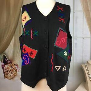 Arriviste-Black-Embroidered-Women-039-s-Vest-Size-L