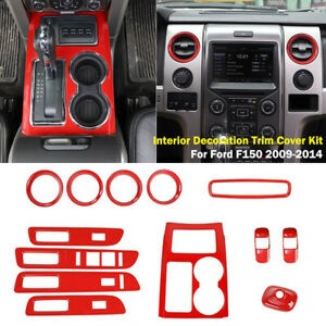 RED Interior Decoration Trim Kit Cover For Ford F150 2009-2014 13pcs Accessories