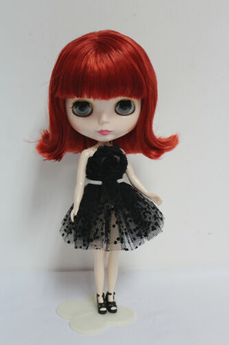 """12/"""" Neo Blythe Doll from Factory Wine Red Short Hair With Bang"""