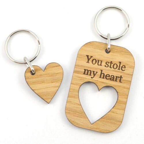 Personalizzata che hai rubato il mio cuore in legno GIORNO SAN VALENTINO AMORE PORTACHIAVI REGALO