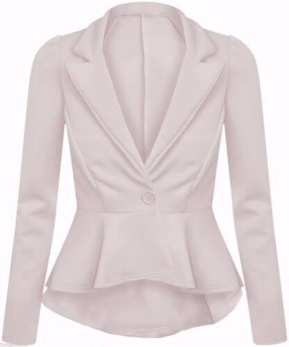 Ladies Womens Peplum Blazer One Button Collared Stretch Coat Jacket Top
