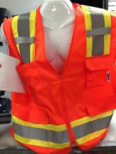 Large Surveyor Solid Orange Two Tones Safety Vest , ANSI/ ISEA 107-2015