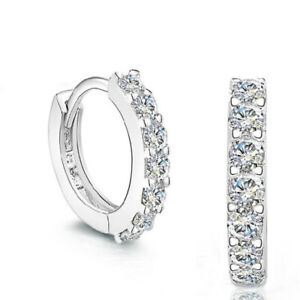 925-Sterling-Silver-Huggie-Hoop-Stone-Stud-Earrings-Womens-Girls-Jewellery-Gift
