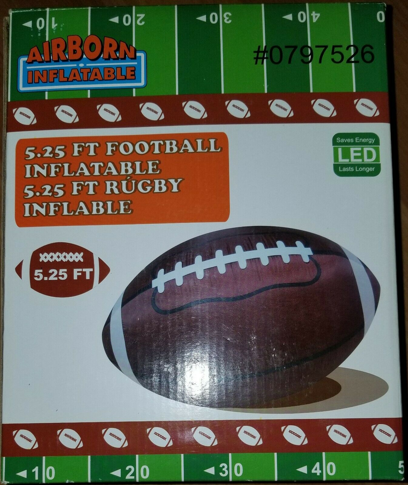 NEW 5.25' Foot Airborn LED Lighted Inflatable Football Football Football   Inflatable Rugby 4ef7ed