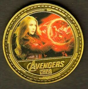 MEDAILLE-PLAQUeE-OR-AVENGERS-MARVEL-SCARLET-WITCH-SORCIERE-ROUGE