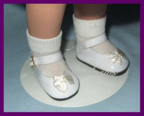 "WHITE Patent 2.5 x 1.125  Inches Mary Jane Doll Shoes fit 16/"" SHIRLEY TEMPLE"