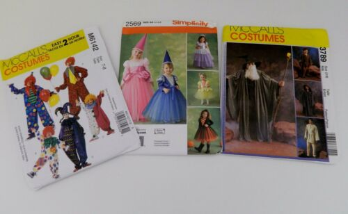 McCalls Simplicity Costume Patterns Clowns Princess Wizard Witches Sizes 1 to 8
