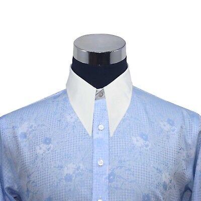 Sporting Spearpoint Vintage Kragen Herren Shirt Blau Blumenmuster Jacquard 1930er Jahre Kaufen Sie Immer Gut