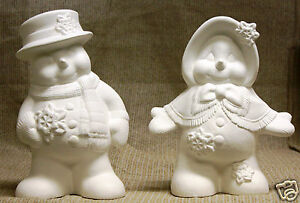 Ceramic-Bisque-Snowman-Couple-Clay-Magic-Mold-1417-1418-U-Paint-Ready-To-Paint