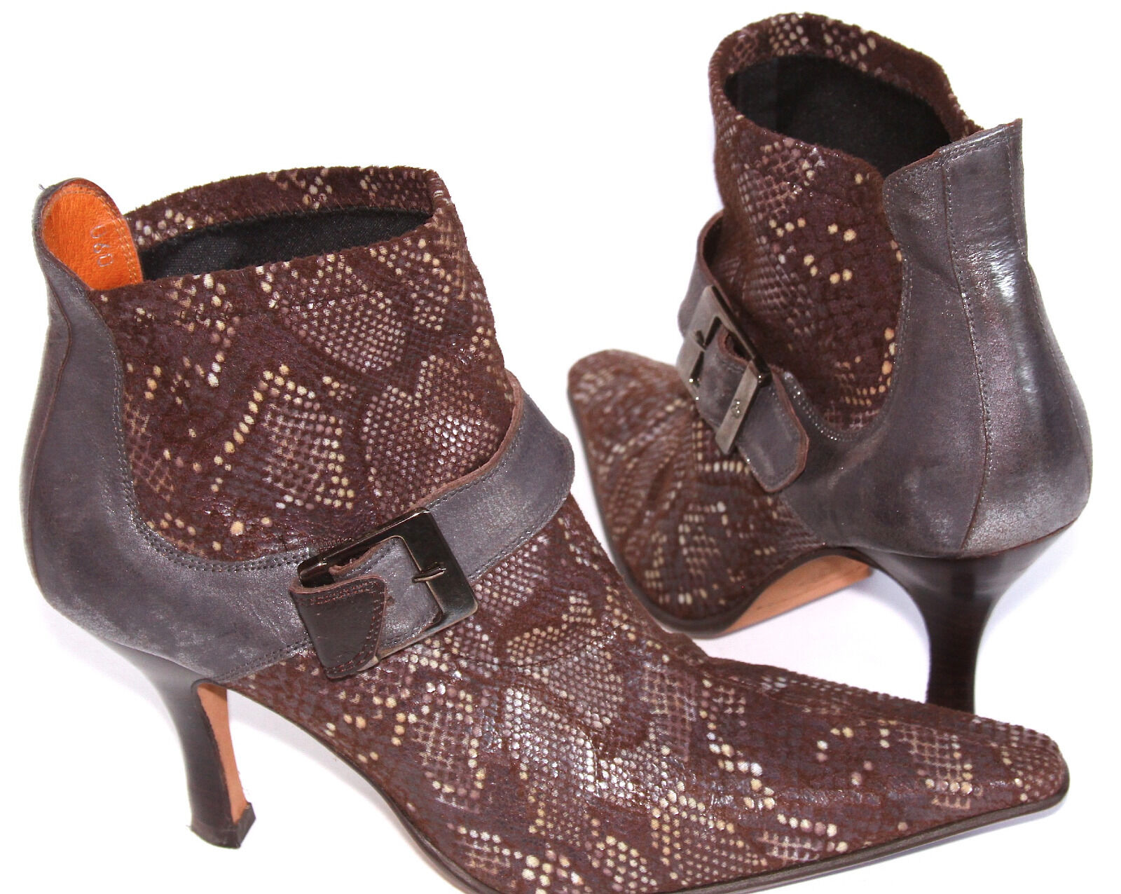 DONALD J. PLINER Suede Reptile Pull On Ankle Boots w  Pewter Metallic Leather 6M