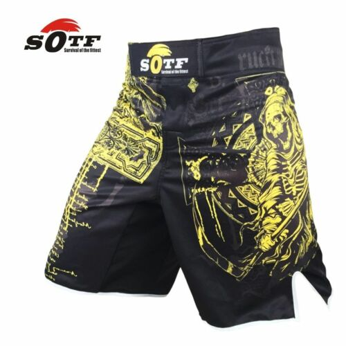 MMA Boxing Splicing Machinery Black Letters Personalized Kickboxing Shorts New