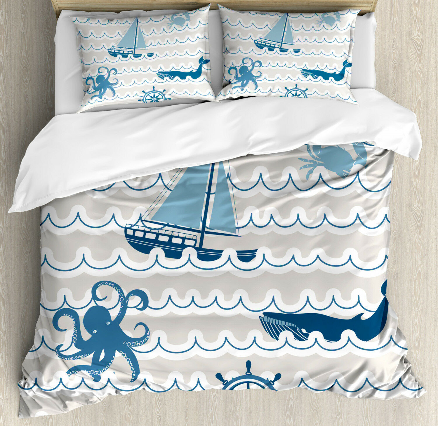 Kids Duvet Cover Set with Pillow Shams Cartoon Ship Whale Waves Print