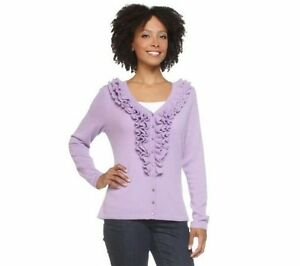 Sweater Sz Kvinder Mizrahi Cardigan Kashmir Isaac Live S New Ruffle Langærmet zUp8fwq
