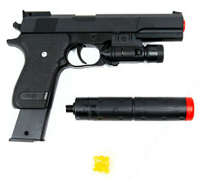 Dettagli su Pistola giocattolo K2011B per bambini 285633 con pallini e silenziatore