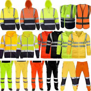 Men Hi Viz Visibility Security Workwear Hoodie Jacket Coat Pants Safety Outfits