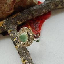 Prehnit, rund, grün, vergoldet, Design, Ring, Ø 19,25 mm, 925 Sterling Silber
