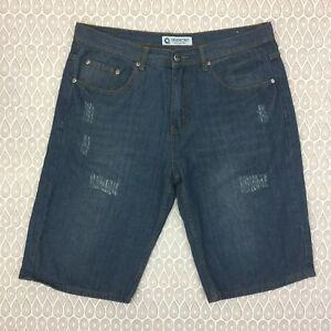 Akademiks-Loose-Fit-Denim-Jean-Shorts-Size-36-Men-039-s-Dark-Wash-Cotton-Blend-D30