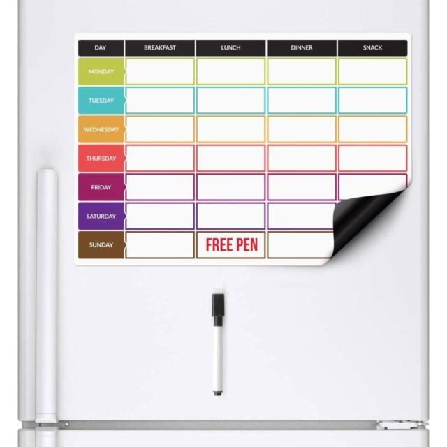 Meal T Planner Dry Wipe Magnetic Fridge Whiteboard Board Weekly Family Prep