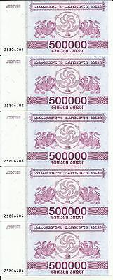4rw 26jul Unc Professional Sale Georgia Lot 5x 500000 Lari 1994 P 51