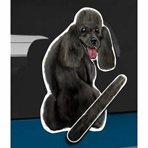 Black Poodle Dog Rear Car Window Sticker + Wagging Tail To Fit On Wiper Arm