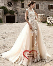 Long Champagne Lace Formal Evening Cocktail Party Bridesmaid Prom Gown Dress