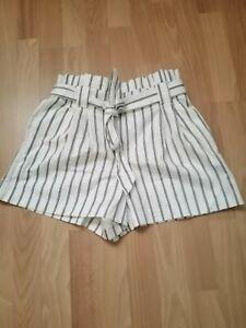 Pantalon Corto Mujer Color Blanco A Rayas Negras Cinturon Con Lazo Ebay