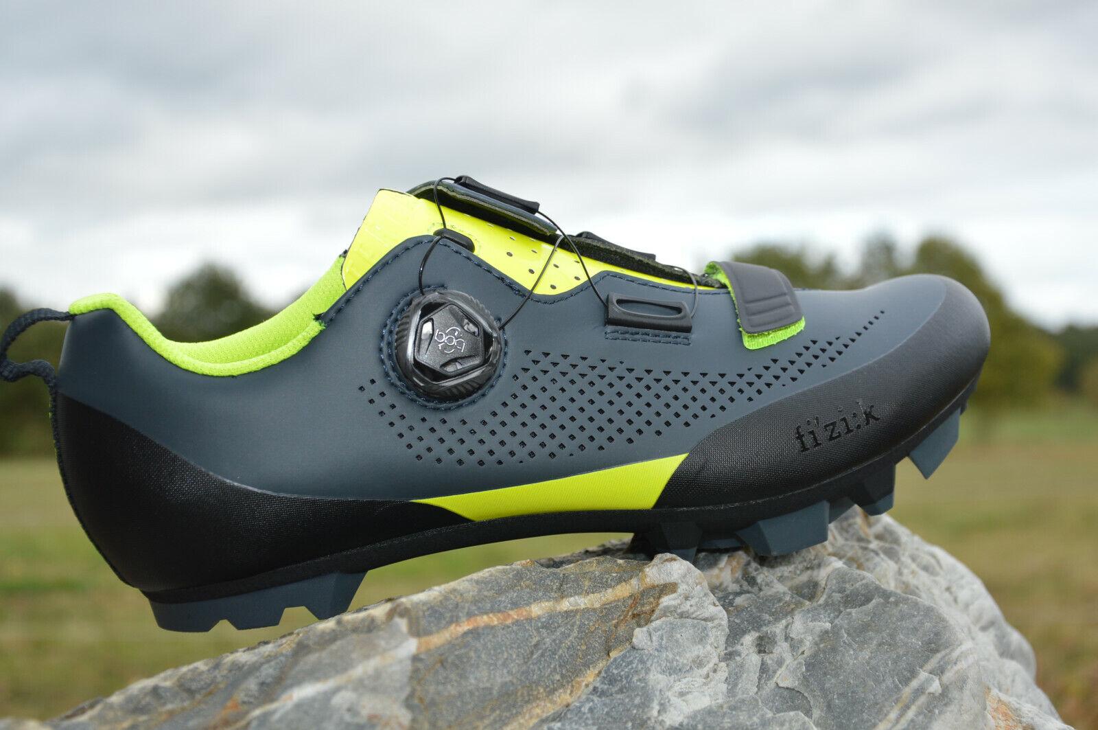 Fizik X 5 Terra de Plumas Boa L6 MTB Zapatos Cochebon Suela Agarre gris-Neon Nuevo